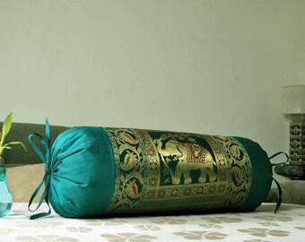 Beautiful Bolster Sofa Pillow Cover Green Elephant