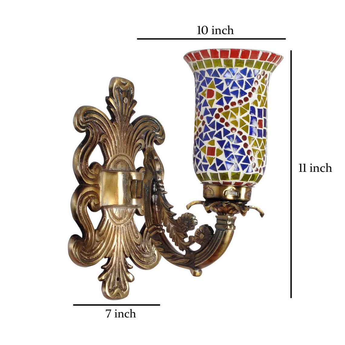 Antique Style Wall Sconce Lighting Adjustable Wall Light Mosaic Glass Lamp Shade Home Decor Eclairage