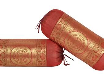 Handmade Silk Animal Brocade Bolster Pillow Covers (Set of 2)