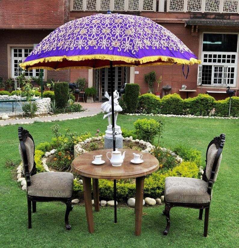 adb5c8b68e Indian Big Garden Umbrella Embroidery Work Sun Shade Parasol Outdoor Beach  Party Umbrella 52 X 72 Inches