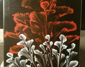 Acrylic string painting-Red & White Flowers