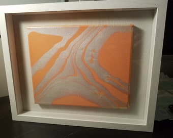 11x14 White shadow box featuring an 8x10 acrylic painting (Coral and pearl white)