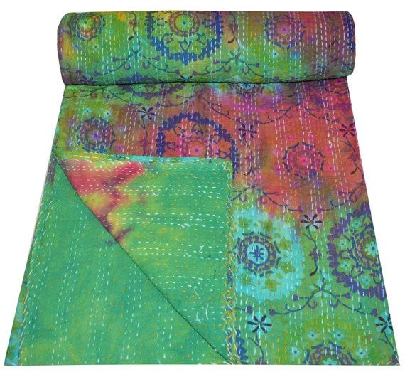 Indian Handmade Quilt Vintage Kantha Bedspread Throw Cotton Twin Indian Gudri
