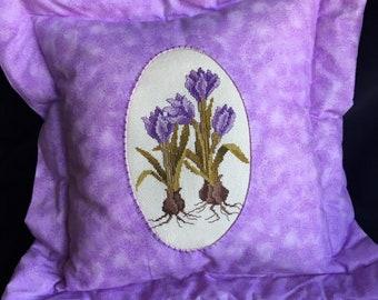 Phebie Day Designs Iris Cross-Stitch Pillow