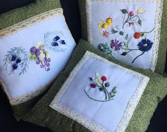 Phebie Day Designs Brazilian Embroidery Dream Pillows - set of 3