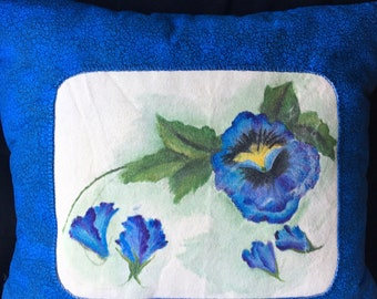 Phebie Day Designs Painted Pansy Pillow 16 x 16