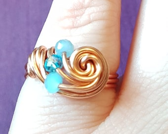 Copper and aqua turquoise blue sparkly twisted wire swirl ring