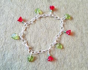 Deep red flower and leaf charm bracelet