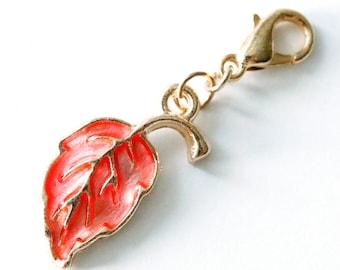 5 Rainbow Heart Leaf Charms Metal Filigree Enamel 2.5 chs5068