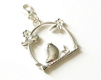 Beads & Jewellelry Making Supplies 1 Birds leafy perch pendant antique silver tone B186 Jewellery Making Charms & Pendants