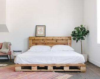 pallet bed etsy. Black Bedroom Furniture Sets. Home Design Ideas
