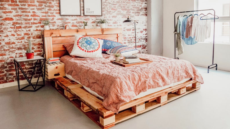 bohemian bedroom pallet bed
