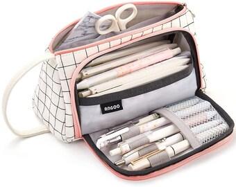 Mustard Stationery Case Canvas Handmade Pencil Case Zippered Pen Bag