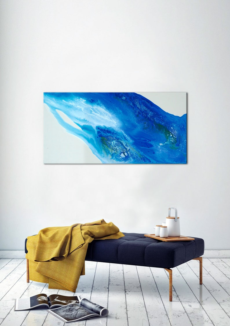 Watercolor Modern Painting Navy Blue Decor Bedroom Wall Etsy