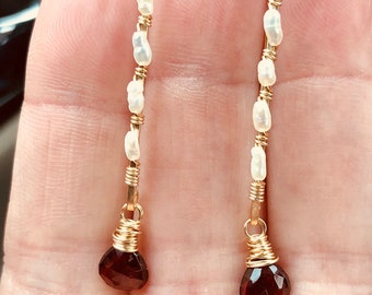 Garnet and freshwater pearl drops