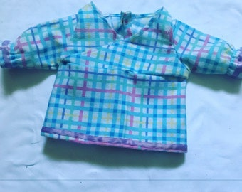 Blue flannel pjs top