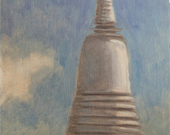 Detail of Wat Prayoon. Oil on board.