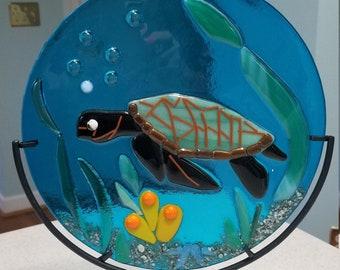 Underwater Turtle Scene Suncatcher Sea Turtle