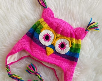 d9feeeb5892 Pink Rainbow Owl Knitted Beanie Hat with Earflaps