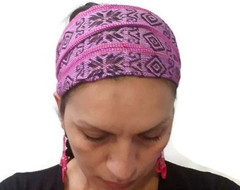 Pink Black White Tribal Wide Stretchy Non slip Headband/ Yoga Headband/ Adult headband/ Workout headband/ Running Headband/ Hippie Headwrap