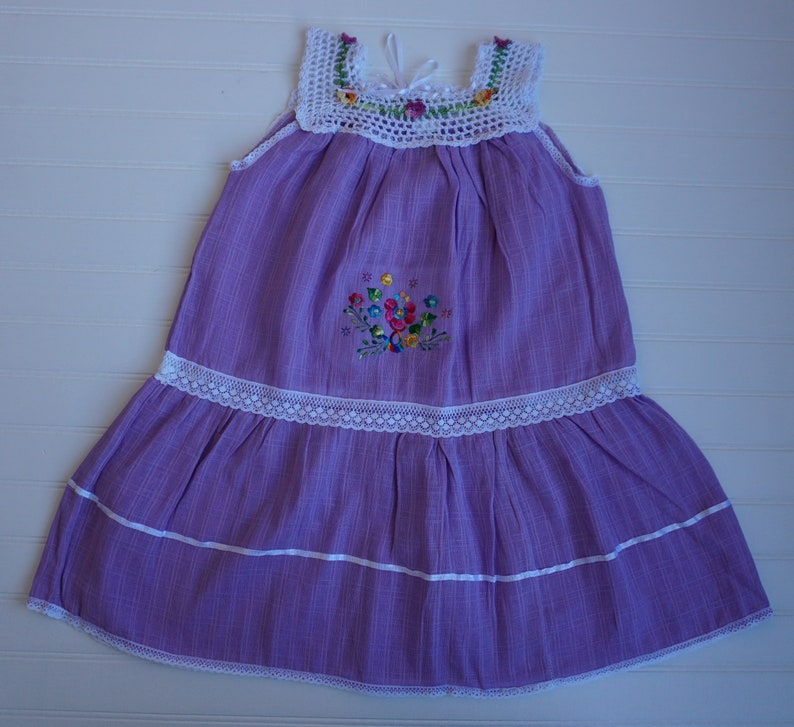 Sheer Gauzy Gown Lavender Girl Dress Size 5T |Gauze fabric dress with crocheted flowers Embroidered Dress Beach Girl Dress