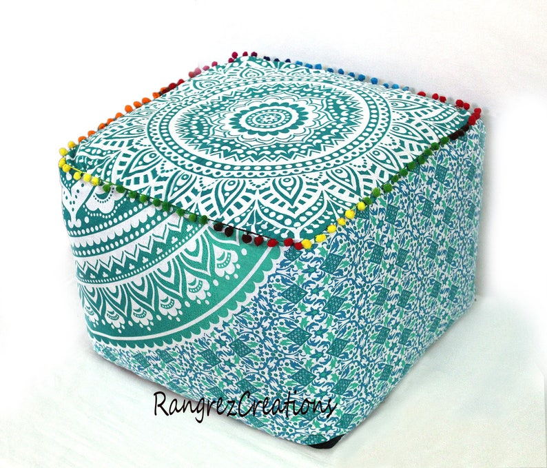 18 Indian Handmade Square Green Ombre Floral Mandala Pouf Cover Home /& Room Decorative Cover Foot Stool Pouf Ottoman Covers Throw