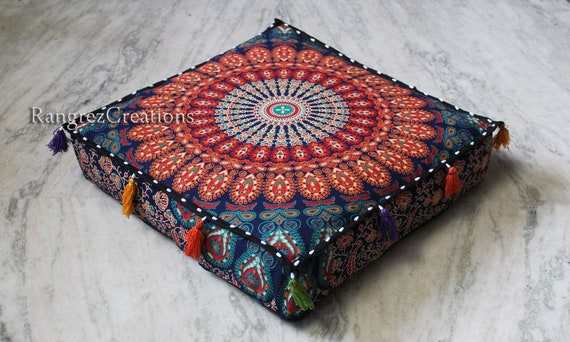 New 18X18X4 Square Elephant Mandala Cushion Cover Decorative Pillow Cover Cotton Cushion Covers Unfilled Zafu Pillow Covers