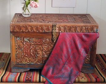 Coffee Table Trunk Made From Carved Old Wood In India Fairly Traded