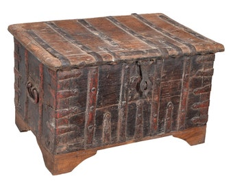 Old Chunky Banded Wooden Trunk Fair Trade Rustic Style Old Indian Furniture