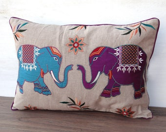 Embroidered Floral Elephant Cushion Teal & Purple Fairly Traded from India