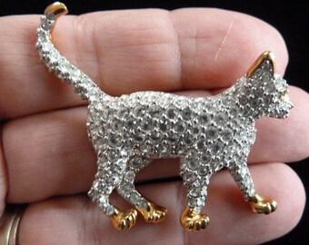 Purrrfect Swarovski Crystal Gold Tone Green Eyed Kitty Cat Brooch Pin
