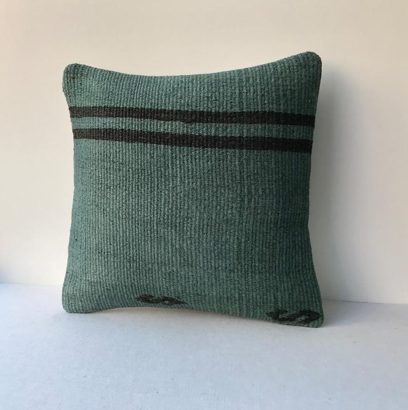 Fantastic green hemp kilim pillow 16x16 Turkish hemp kilim pillow,handmade pillow,home living,accent pillow home decor pillow 40x40cm