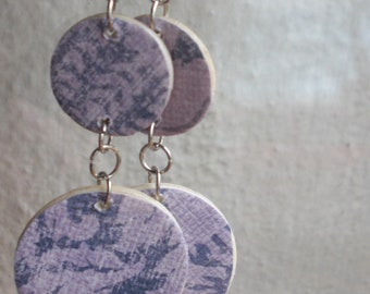 Wood disk earrings with decoupaged purple paper design