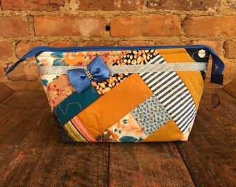Clutch Bag, Patchwork Design in Blue and Gold
