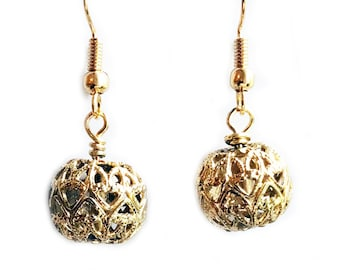 Cut Out Geometric Gold Ball Earrings - Drop Earrings - Geo Earrings - Gold Earrings - Abstract Earrings - Dangle Earrings