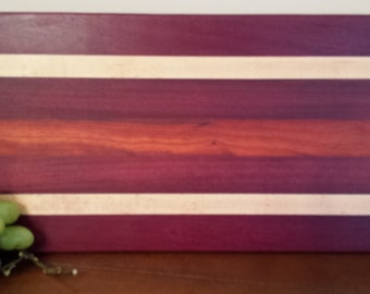 Exotic Hardwood Cutting board made with Purple Heart, Padauk, Maple