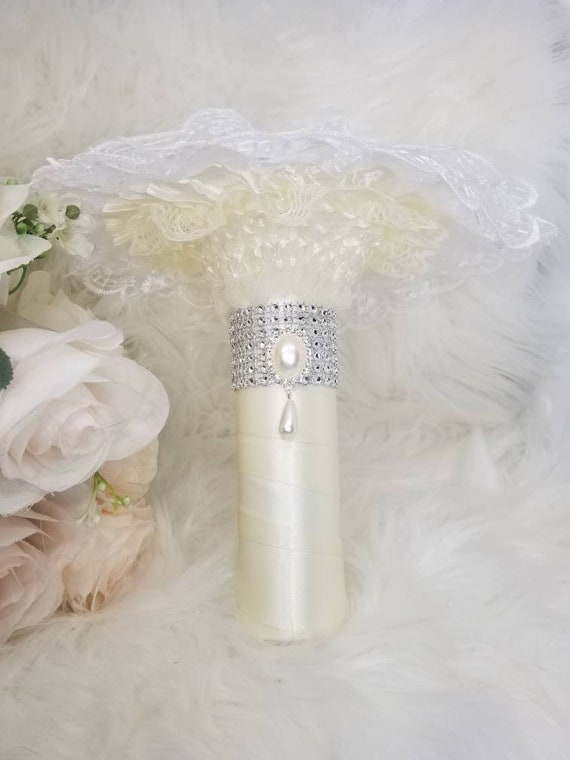 Satin Wrapped and Crystal Rhinestones and Brooch Wedding Bouquet Holders