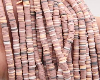 4mm6mm8mm Vinyl Heishi Beads,Pink Vinyl Beads,Polymer Clay African Vinyl Disc Beads,Wholesale Vinyl Heishi DIY Making Jewelry Beads.