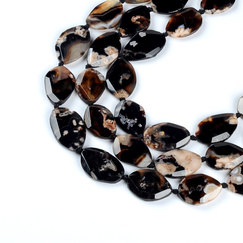 Full 15.7 Inch Natural Cherry Blossom Agate Beads.Irregular Shape Cutting Agate Beads High Quality Agate Gemstone Beads.Polish Bright  Beads