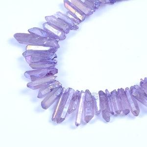 Natural Crystal Quartz Point Beads.Blue Crystal Quartz Point.Bright Crystal Beads.High Quality Crystal Point Beads.Center Drilled Beads.