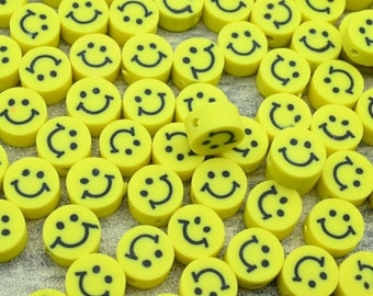 50 Pieces/10mm Smiley Face Polymer Clay Beads,Loose Polymer Clay Beads,For Jewelry Made Beads,For Bracelet Beads,Kids Beads,Wholesale Beads.