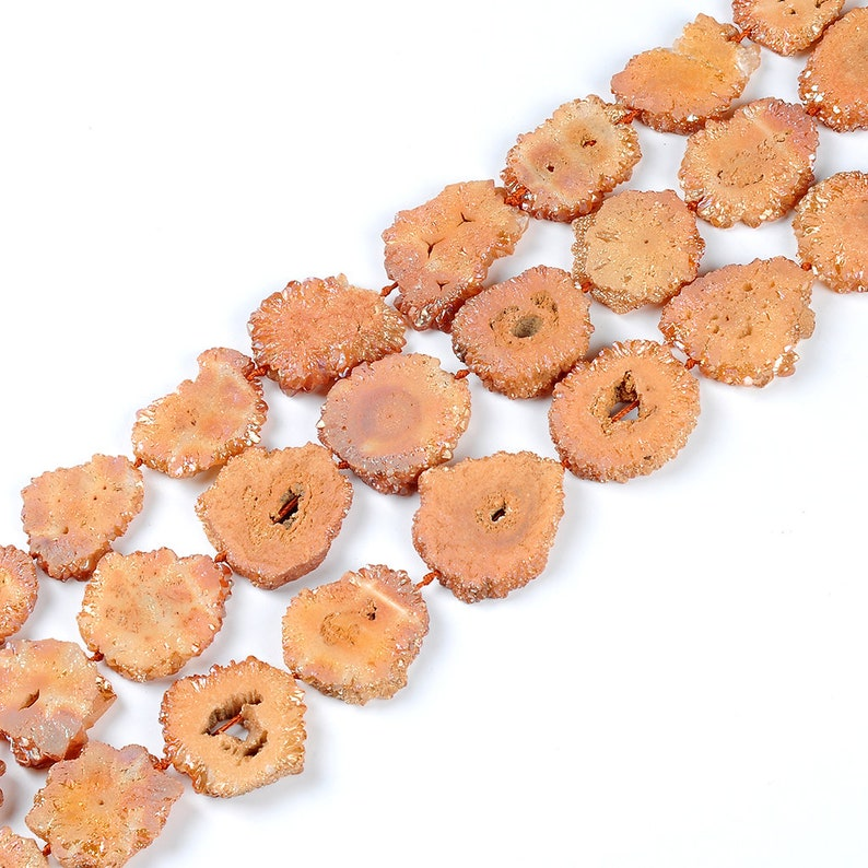 Druzy Beads.Natural Druzy Agate Beads.Orange Druzy Beads.High Quality Druzy Beads.Middle Drilled Druzy Beads.Beautiful Druzy Agate Beads!