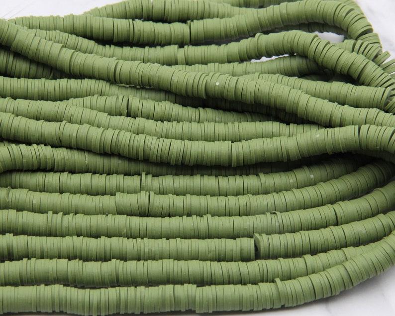 4mm6mm8mm Vinyl Heishi Beads,Green Vinyl Beads,Polymer Clay African Vinyl Disc Beads,Wholesale Vinyl Heishi DIY Making Jewelry Beads.