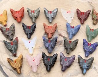 25 Kinds Wolf Head Gemstone Pendants,Natural Labradorite/Crystals/Pyrite/Amethyst/Lapis Lazuli/Mookaite/Jade/Rose Quartz/Obsidian Wolf Head.