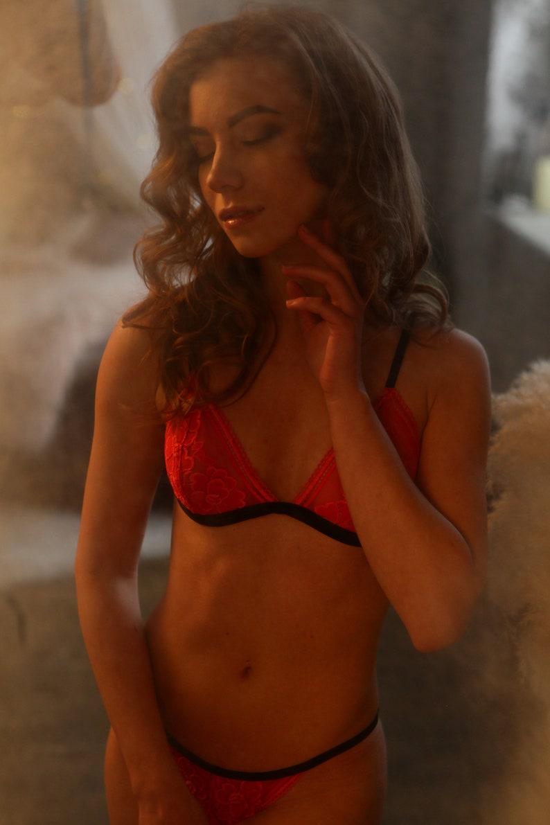 4196153af8 RED sexy LINGERIE velvet stirps soft lace
