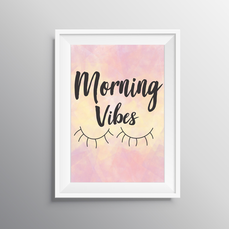 Morning Vibes Digital Nap Lover Gift Watercolor Wall Art Etsy
