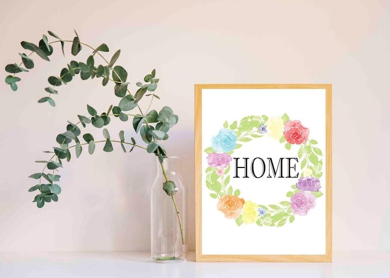 Flower Wreath Welcome Home Decor Wall Art Poster