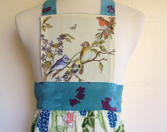 Apron with vintage bird pattern and organic cotton skirt