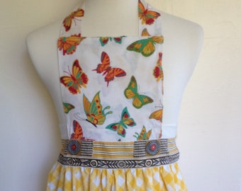 Apron with bright butterflys and yellow gingham