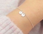 Super Tiny Initial Disc Bracelet, Sterling Silver 14k Gold Filled, Dainty Personalised Disc Bracelet, Tiny Disc Bracelet, Birthday Gift